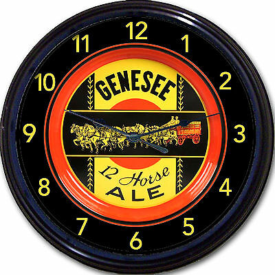 """GENESEE 12 HORSE ALE  """"BEER TRAY"""" WALL CLOCK ROCHESTER NY ALE LAGER MAN CAVE NEW"""