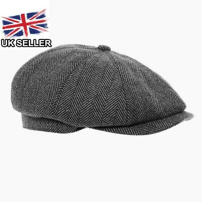 Grey Tweed Herringbone Gatsby Mens 8 Panel Baker Newsboy Cap Peaky Blinders Hat