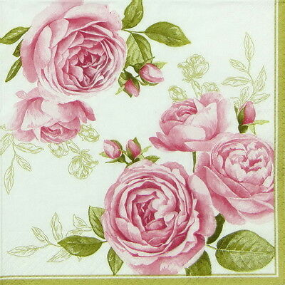 4x Paper Napkins for Decoupage Decopatch Craft - Delicate Roses
