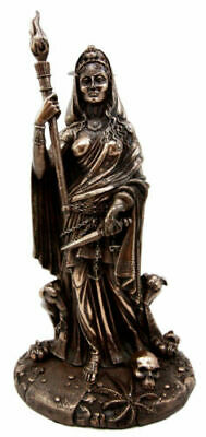 Greek Triple Goddess Hecate Holding Staff with Dogs Figurine Statue Collectible