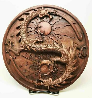 "Ying Yang Double Dragon Wall Plaque Decor Maxine Miller Collectible 11"" Diameter"