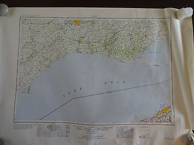 1950 - Large Geographic Map of Erie, PA, Lake Erie & Canada - Army Map Service