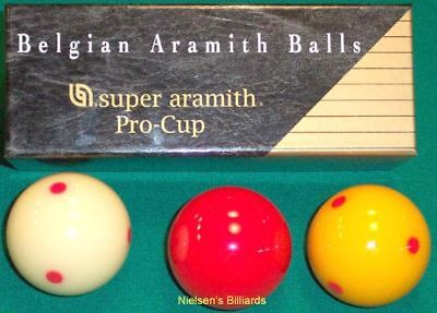 Belgian Aramith Pro Cup (TV) Carom/Billiard Balls - Spotted - 61.5mm