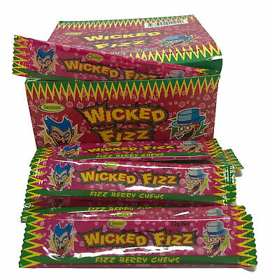 Bulk Lot 60 x Wicked Fizz Chews Berry Candy Sweets Kids Lollies Party Favors
