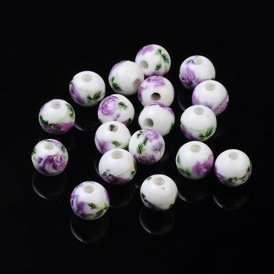 20pcs Orchid Flower Handmade Printed Porcelain Beads Round Chunky DIY Handcraft