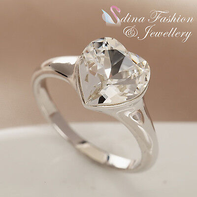 18K White Gold Plated Made With Genuine Swarovski Crystal Clear Cut Heart Ring