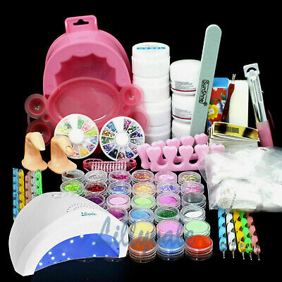 36W UV lamp light Acrylic Glitter Nail Art Pen Brush UV Gel Powder Set Kit Tips