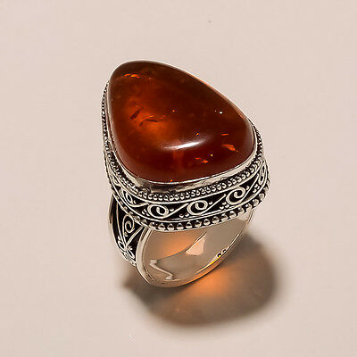 """MODERN JEWELRY LOVELY VINTAGE BALTIC AMBER 925 STERLING SILVER RING 8.25"""" (AZ46)"""