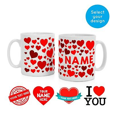 Personalised Name Mug Cup Coffee Valentines Day Presents Gifts Gift for Him Her