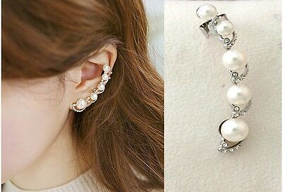 1PC Charm New Fashion White Crystal Pearl Silver spiral Ear Clip on Stud Earring