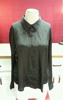 SEXY Forever 21 Open Draped Back Button Down Shirt, Shiny Black, Polyester, S