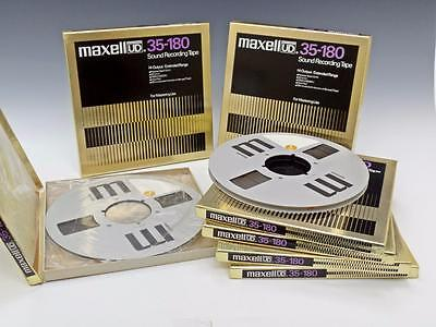 """Lot of 8 Maxell UD 35-180 10.5"""" 1/4"""" Reel to Reel Tape In Boxes - Recorded Once"""