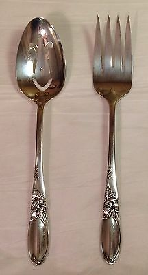 Community WHITE ORCHID 2 Serving Piece Slotted Spoon Cold Meat Fork Silver Plate