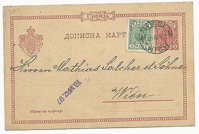 Serbia H&G #5 Postal Card to Wien, Germany March 19, 1897