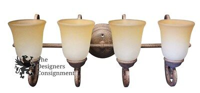 2 Antiqued French Style Wrought Iron Wall Sconces 4 Uplight Glass Shade Scroll