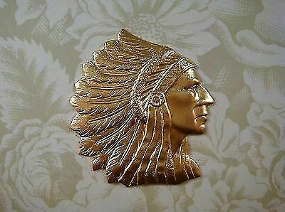 Large Raw Brass Indian Chief Stamping (1) - GB0338