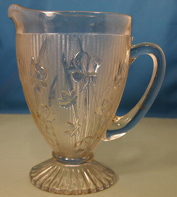 "Antique Iris & Herringbone Crystal & Iridescent color 9"" Milk Pitcher"