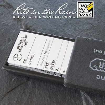 10 x *NEW* GEOLoggers SMALL 3.0cm Geocaching Log Sheet Rite in the Rain White
