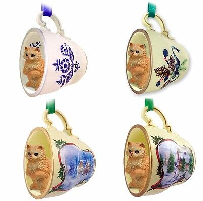 Hand Painted Red Persian in a Set of Four Decorated Tea Cup Ornaments