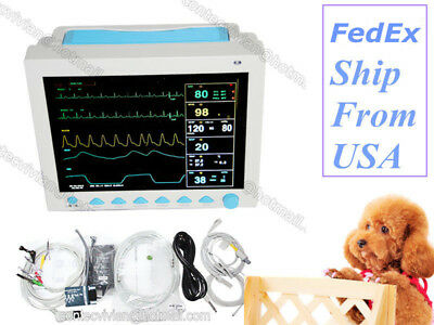 VET Veterinary Patient Monitor Vital Signs 6Parameter ECG NIBP SPO2 PR RESP TEMP