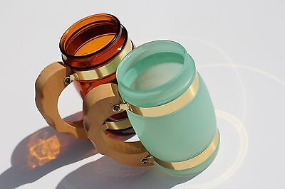 Pair of Siesta Ware Barrel Mugs Vintage Barware Frosted Glass World's Fair NY