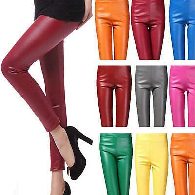 1088 Womens Fashion Faux Leather Plain High Waist Leggings Slim Pencil Pants New