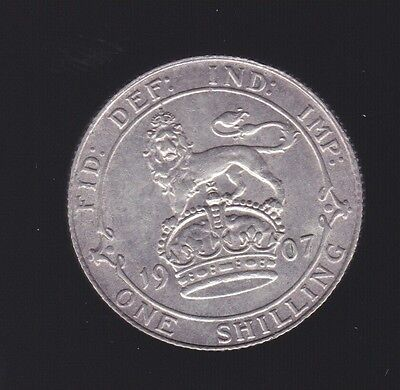 1907 Great Britain  Silver One Shilling Coin King Edward top grade S-280