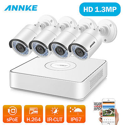 ANNKE 4 Channel NVR 960P HD Outdoor IP Network Home Security Camera CCTV System