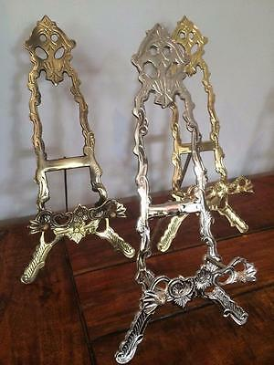 """BRASS NICKEL BRONZE EASEL 30cm PLATE DISPLAY PICTURE STAND PHOTO WEDDING B04-12"""""""