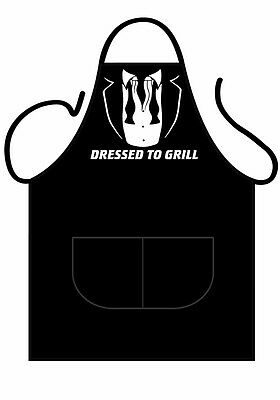 """Mens,womens,black Novelty Bbq Apron,""""james Bond Theme Dressed To Grill""""as Adult"""