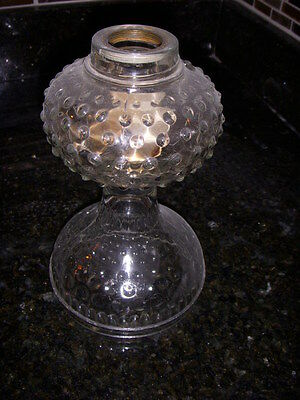 "antique GLASS HOBNAIL OIL LAMP with #2 collar .......8"" TALL"