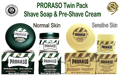 PRORASO DUO PACK - Shave Soap  & Pre/after Cream - Normal Skin or Sensitive Skin