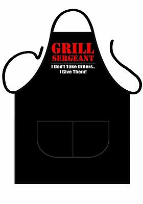 """Mens,womens,unisex,black Printed Novelty Apron,bbq """"grill Sergeant"""" As Adult"""