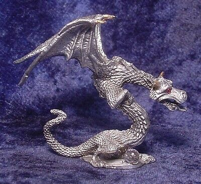 Pewter DRAGON with Fiery Red CRYSTAL Eyes