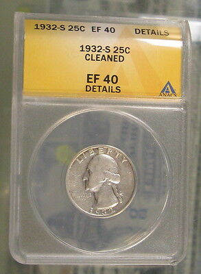 1932-S Washington Quarter ANACS EF40 Details Cleaned Key Date Silver Coin