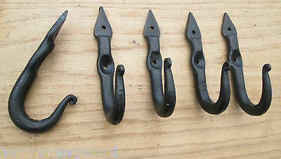5 X Wrought Iron Hand Forged Old Style Coat Hook Hanger Kitchen Hanging