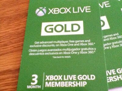 NEW 2 CARDS X BOX 360 X-BOX ONE 3 MONTH LIVE GOLD MEMBERSHIP 6 MONTHS TOTAL