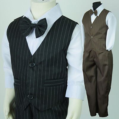BNWT Boys Pinstripe Formal Wedding Page Boy Vest Suit Size 0000 - 16 Black Brown