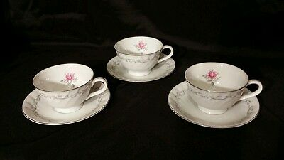 Vintage Royal Swirl Fine China Of Japan Rose Pattern 3 Tea Cups & Saucers