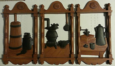Homco - 7290 A B & C - 3 Plaque Set - Country Kitchen Decor - MADE IN USA 1974