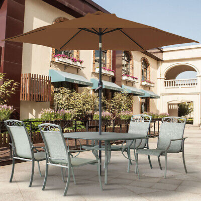 Garden Parasol Umbrella Patio Outdoor Sun Shade Aluminium Crank Tilt 2.5M Round