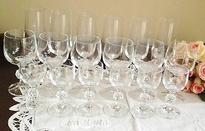 BOHEMIAN CRYSTAL 'Claudia' Set of 18  Glasses 6 Wine,6 Liquer 6 Champ- Exc Cond