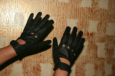 Ladies Women's Black Genuine Real Leather Driving Riding Shooting Soft Gloves
