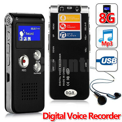OZ For Rechargeable 8G Digital Voice Recorder Audio USB Dictaphone MP3 Player