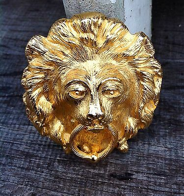 Vintage Large LION Head Door Knocker Hippie Hollywood Regency Glam Belt Buckle