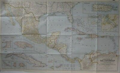1947 Map WEST INDIES CENTRAL AMERICA Cuba Costa Rica Panama Canal Puerto Rico