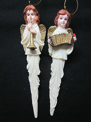 New Vintage 2 angels instruments tall skinny gilt wings Christmas tree ornaments