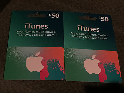 Apple iTunes Gift Card Certificate $100 ( $50 x 2 ) i tunes