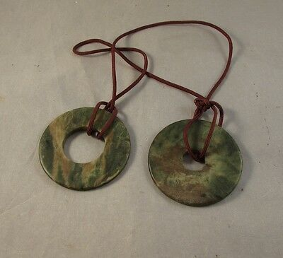 Antique pair of Chinese Neolithic Bi jade disc disks