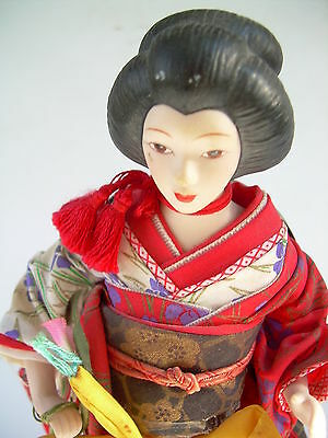 Lovely Porcelain Japanese Woman Figure Doll On metal Stand-Traditional Wardrobe